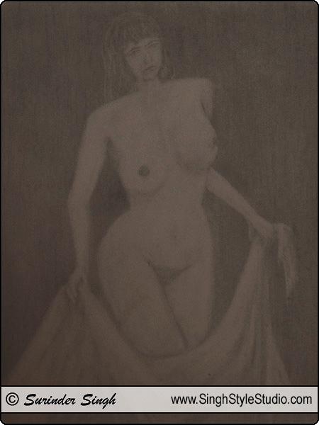 Nude Art by Fine Artist Surinder Singh, Delhi, India