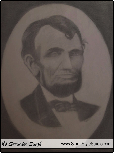 Portrait Art: US President Abraham Lincoln