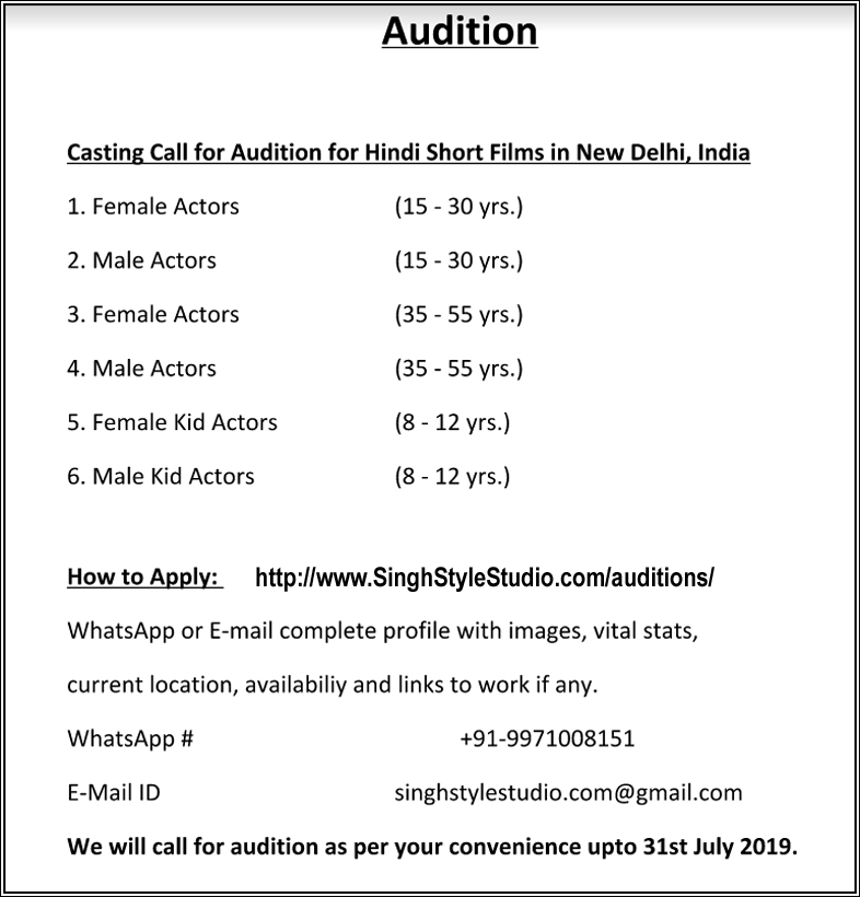 Auditions in Delhi for Hindi Short Film