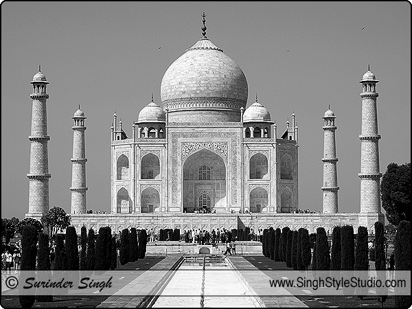 Taj Mahal Historical Heritage Architecture Black and White Travel Photography in Delhi, India
