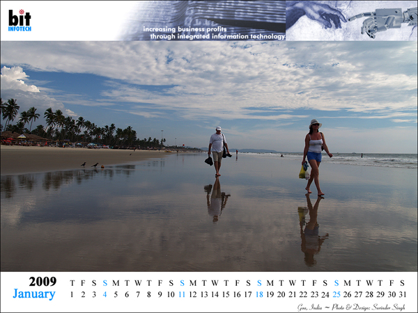 Goa India Travel Photography logo website designing company bitINFOTECH Delhi India Calendar 2009